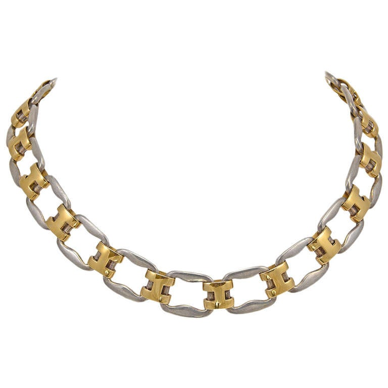 Hermes Very Rare Magnificent Sterling Gold Necklace For Sale