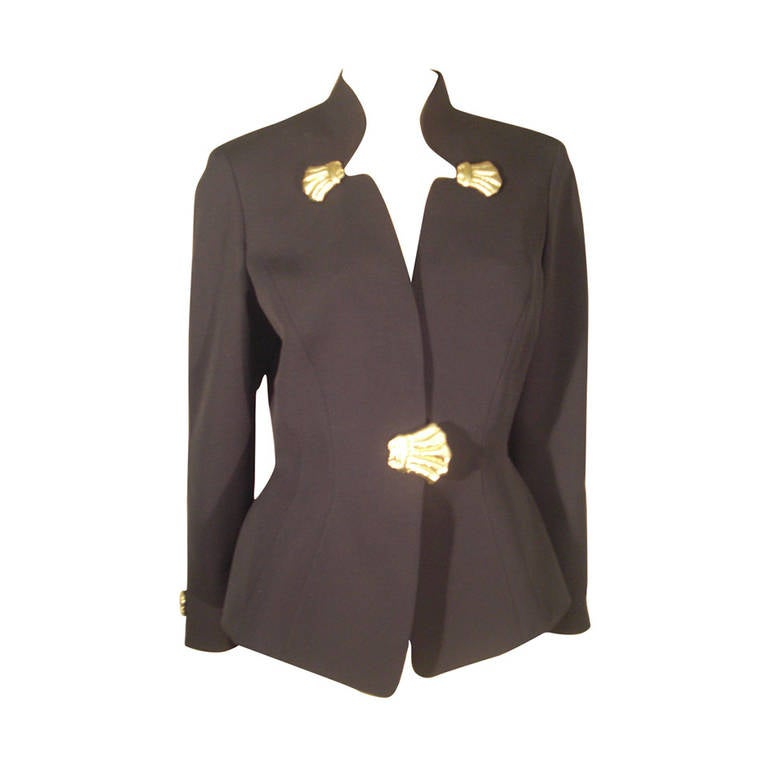 1980s Thierry Mugler Black Gaberdine Jacket with Gold Fabric Shell Embellishment For Sale