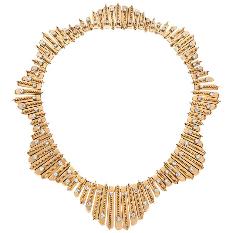 1950's Cartier Paris Diamond Gold Undulating Fringe Necklace For Sale