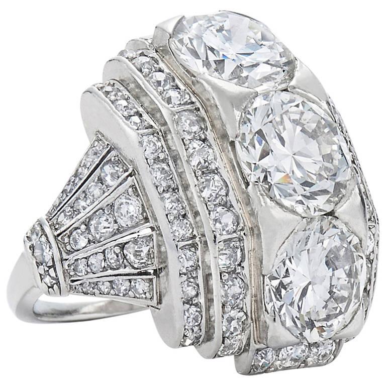 Art Deco Boivin Bande Bombe Diamond Ring