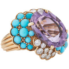 1960s Amethyst Turquoise Diamond Yellow Gold Cocktail Ring