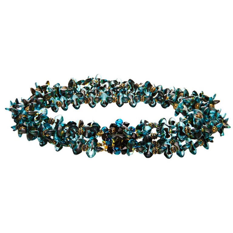 1960s Christian Dior Glass Beaded Choker Necklace 1