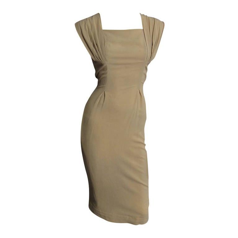 1940s Silk Crepe Cocktail Dress 1