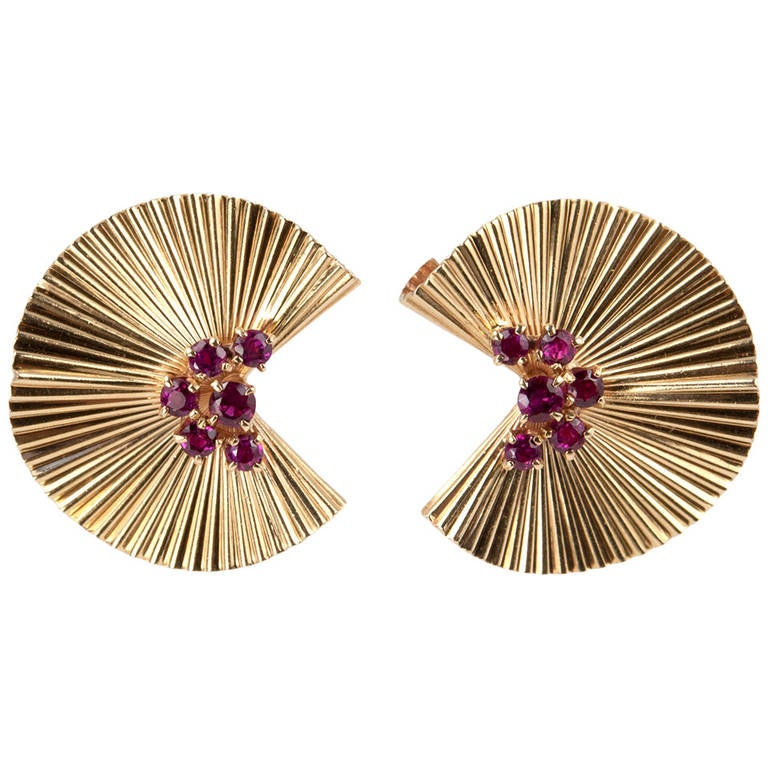 Tiffany Co Ruby Gold Fluted Clip Earrings For