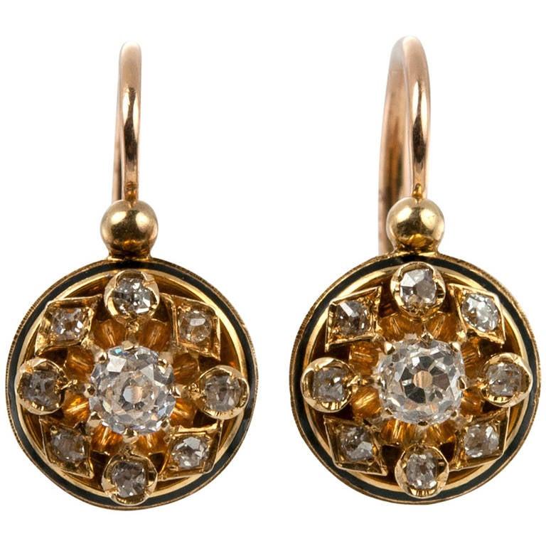Victorian Old Mine Cut Diamond Cluster Earrings