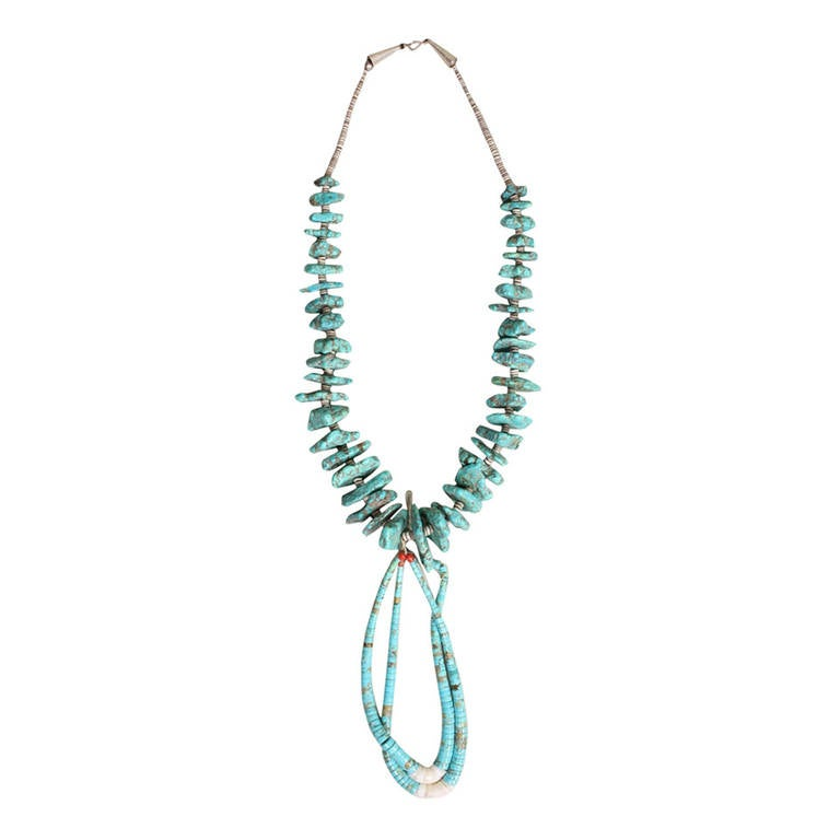 1970's Native American Turquoise Nugget Jacla Necklace For Sale