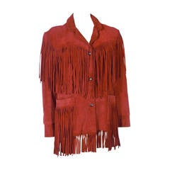 1980s Giorgio of Beverly Hills Red Fringe Leather Jacket