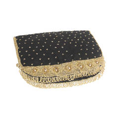 1950s Koret Tresor Beaded Clutch in Silk Faille with Gold Beading