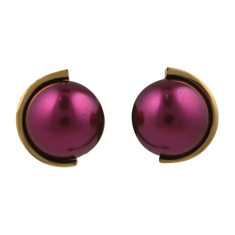 Lanvin Deep Rasberry Pearl Earclips 1