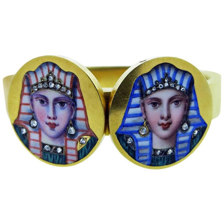 Illustrious  Egyptian Revival Enamel Bangle Bracelet