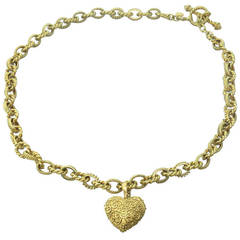 Cynthia Bach Gold Heart Charm Toggle Necklace