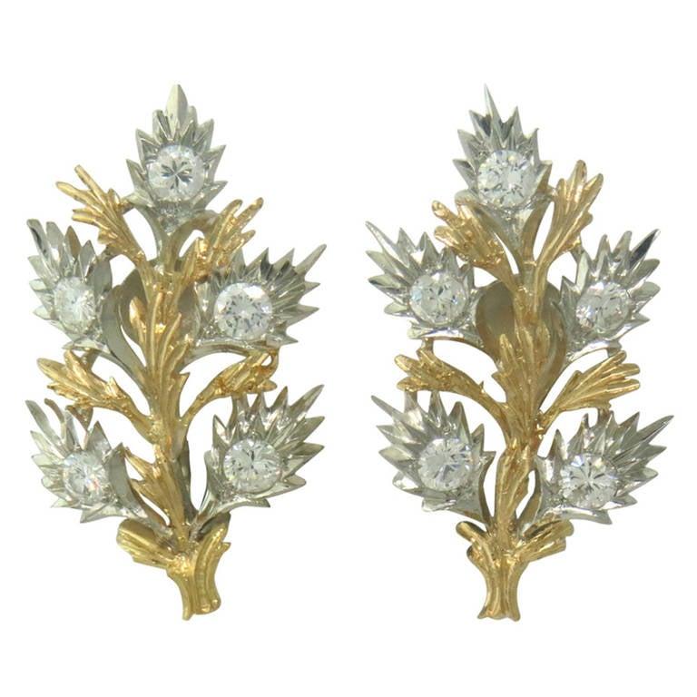 Buccellati Diamond Gold Leaf Motif Earrings