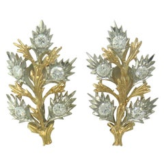 Buccellati Diamond Gold Leaf Motif Earrings