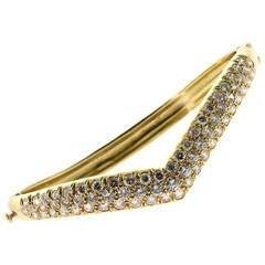 1980s Van Cleef & Arpels Diamond Gold Bangle Bracelet