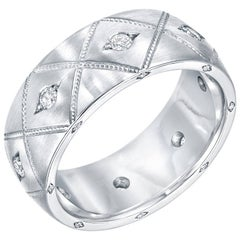 Diamond Platinum Mens Band Ring