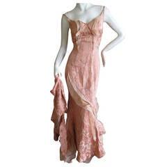 Nina Ricci by Olivier Theyskens pink silk floor length dress with train