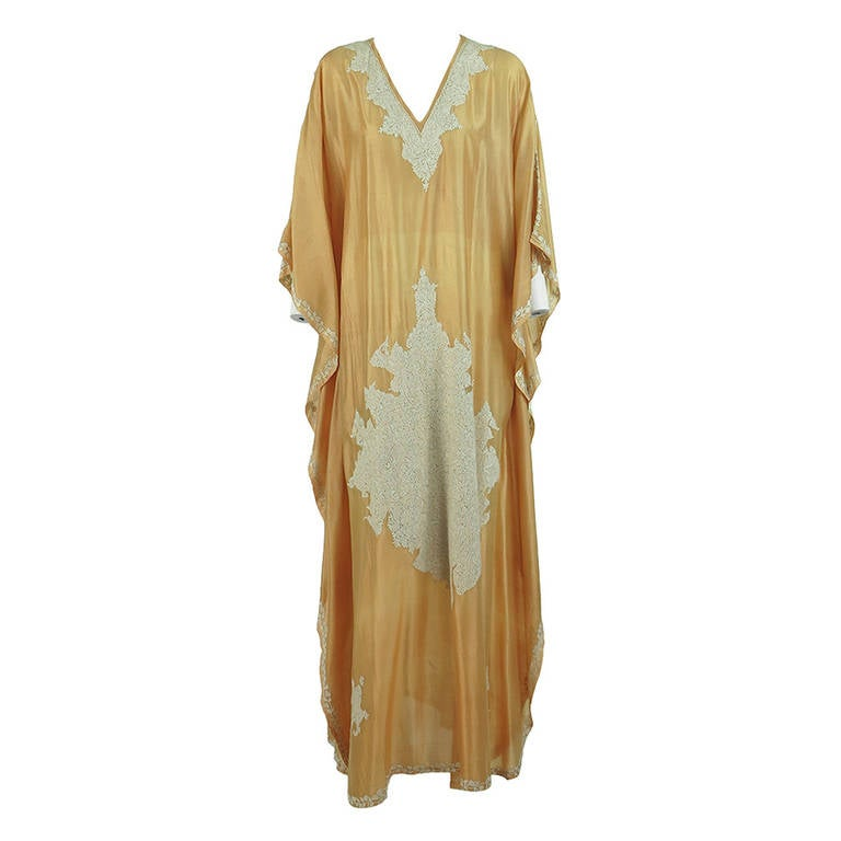 1960s India golden silk heavily embroidered caftan