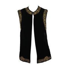 1960s India gold bouillon embroidered velvet vest Bazar Boutique