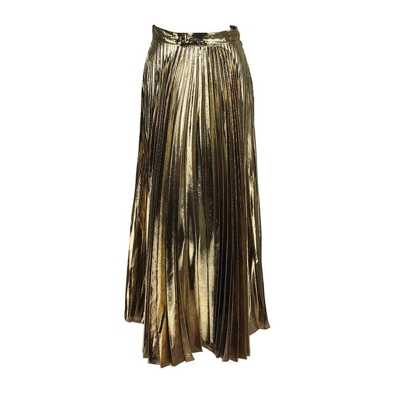 1980s liquid gold knife pleated skirt nwt at 1stdibs