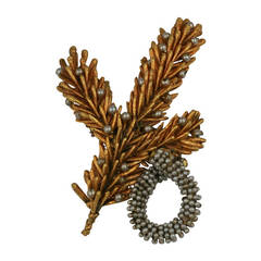 Miriam Haskell  Gilt Pine Frond and Seed Pearl Brooch