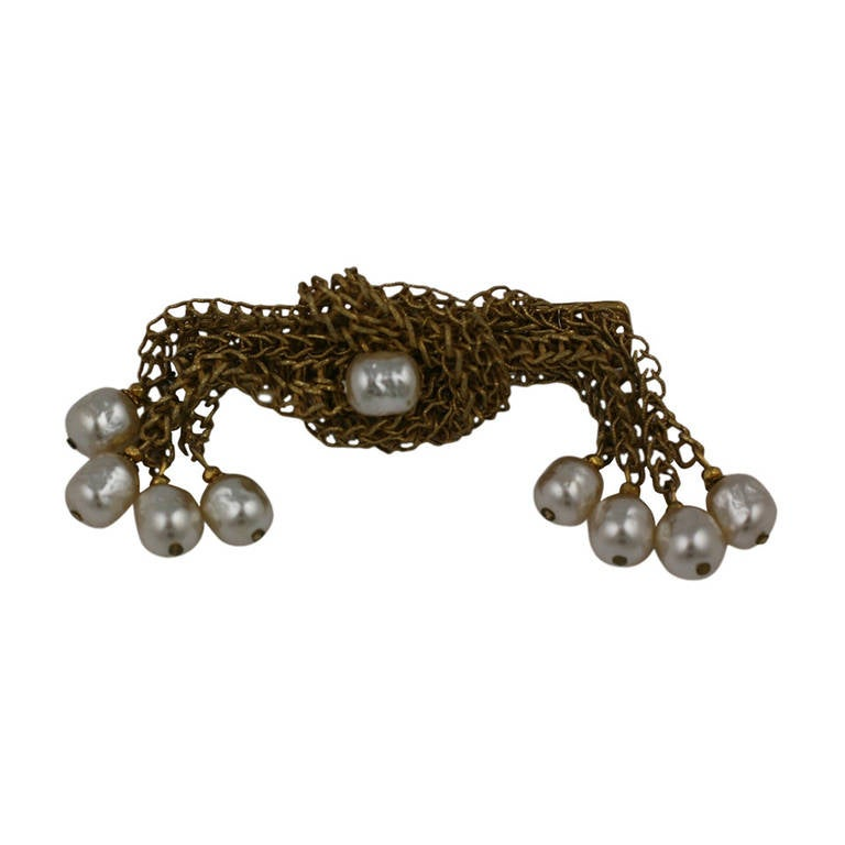 Miriam Haskell Pearl and Gilt Cascade Brooch For Sale