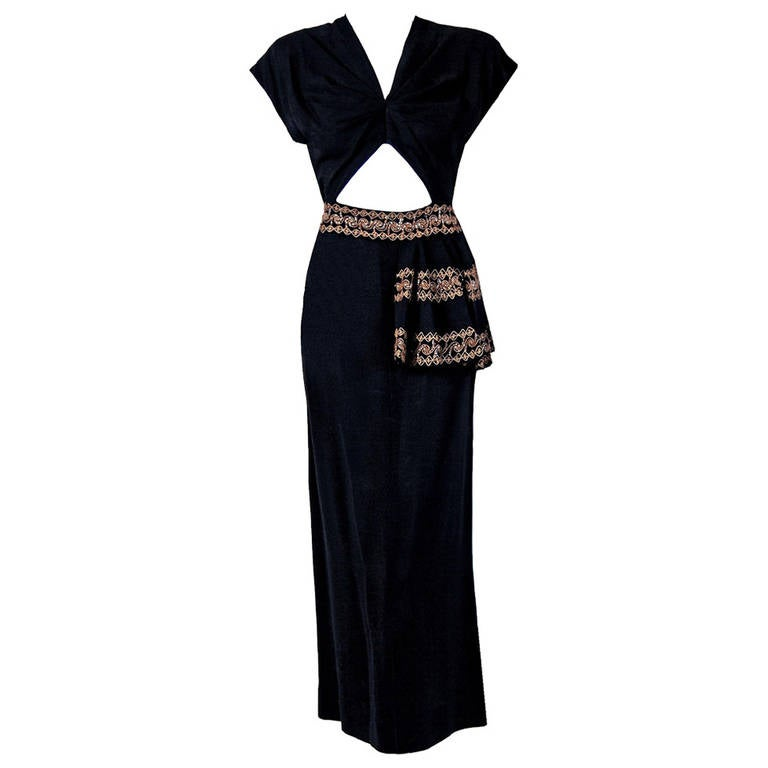 1930's Metallic-Gold Sequin Embroidered Black Rayon Cut-Out Deco Evening Gown 1