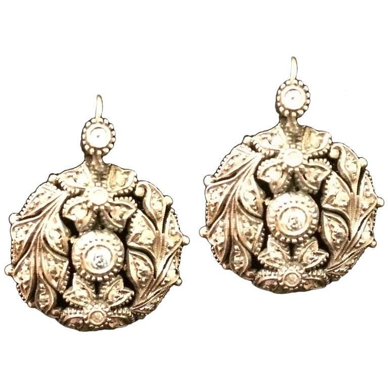 Original Victorian Diamond Silver Yellow Gold Earrings 1