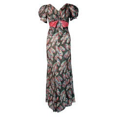 1930's Colorful Atomic Deco Print-Lame Puff Sleeve Hourglass Bias-Cut Gown