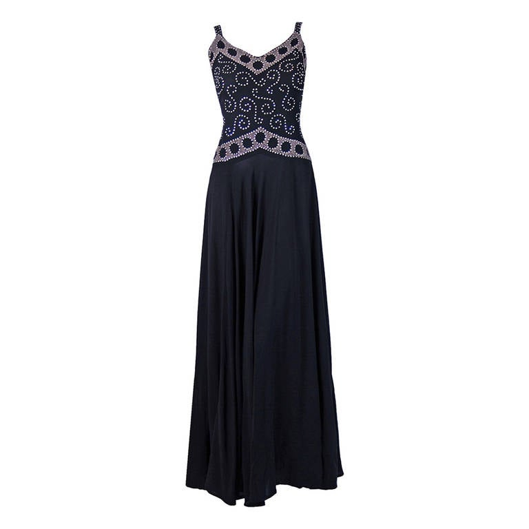 Beaded Rhinestone Black Silk Rayon Bias Cut Evening Gown, 1930s at ...