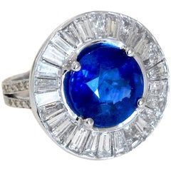 Outstanding Sapphire Diamond Platinum Ring