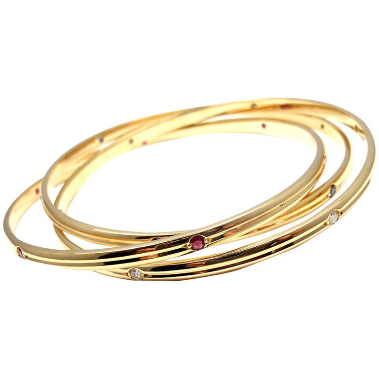 Cartier Trinity Ruby Sapphire Diamond Yellow Gold Bangle Bracelet