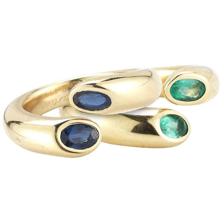 cartier sapphire and emerald gold rings at 1stdibs