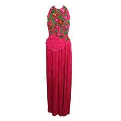 Mary McFadden 1990s Fuchsia and Sequin Floral Appliqué Halter Gown