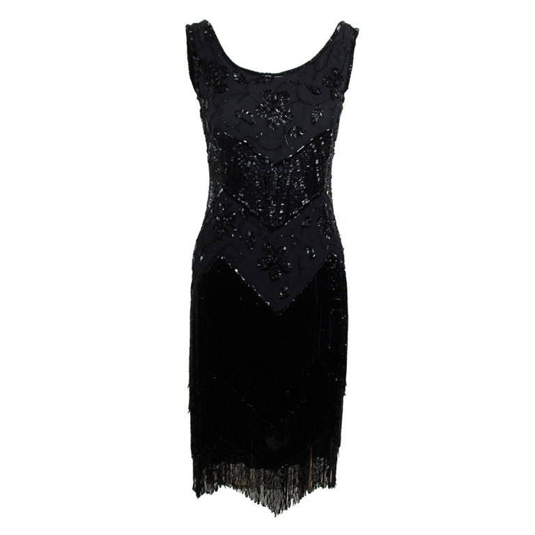 1920s Jet Black Beaded Fringe Flapper Dress 1
