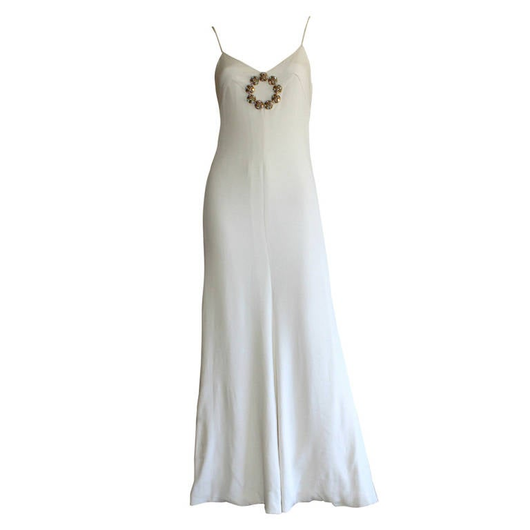 Beautiful 1970s Vintage Oscar de la Renta White Jewel Gown Perfect Wedding Dress