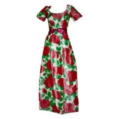 Gorgeous Vintage Richilene for Elizabeth Arden Pink Floral Watercolor Gown
