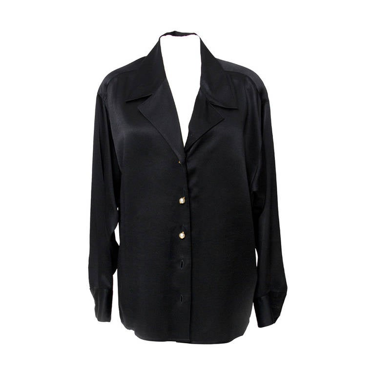 Chanel Black Silk Blouse For Sale