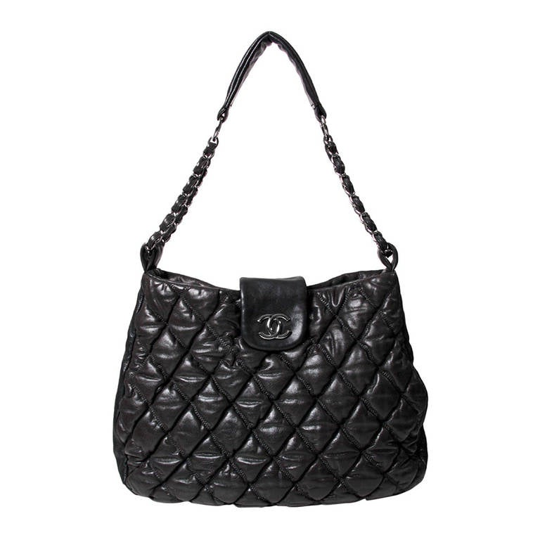 Chanel Black Quilted Bubble Tote Bag At 1stdibs