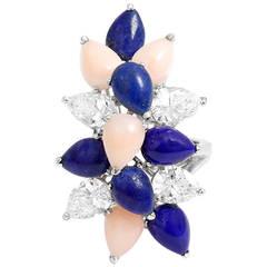 Tiffany & Co. Stunning Lapis Coral Diamond Platinum Ring