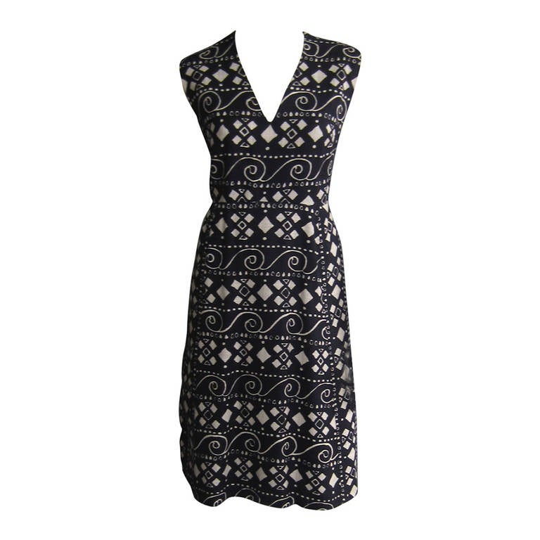 PAULINE TRIGERE Navy and White Graphic Print Dress