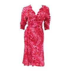 Emanuel Ungaro Silk Leopard Print Wrap Dress