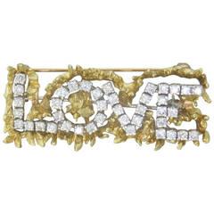1970s Diamond Gold Love Brooch Pin