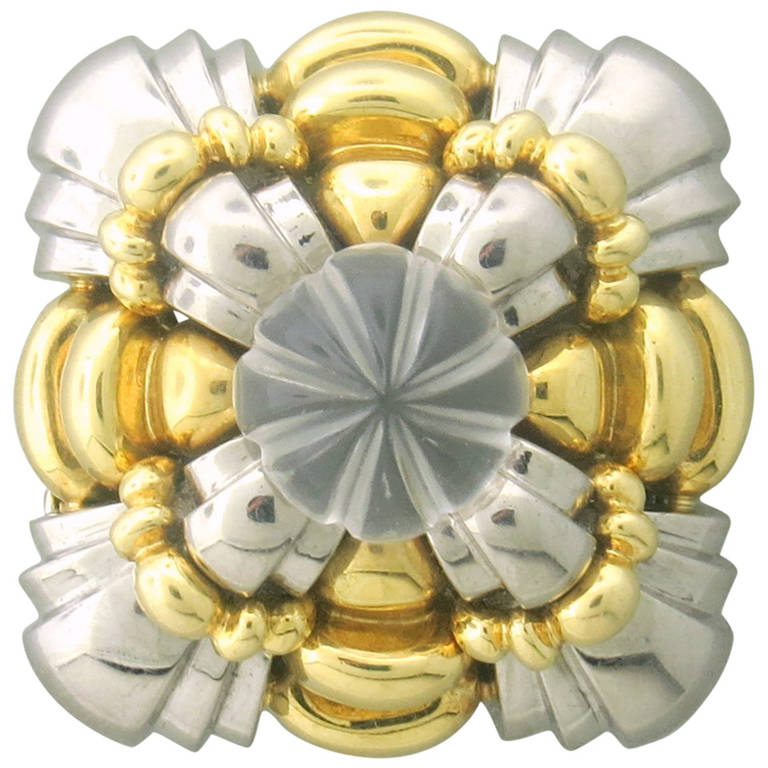 Cartier Carved Crystal Gold Brooch Pin