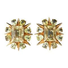Tony Duquette 18K & Citrine Starburst Earrings