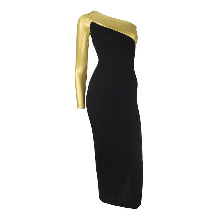 1990s Donna Karen Gold and Black Asymetrical Evening Gown