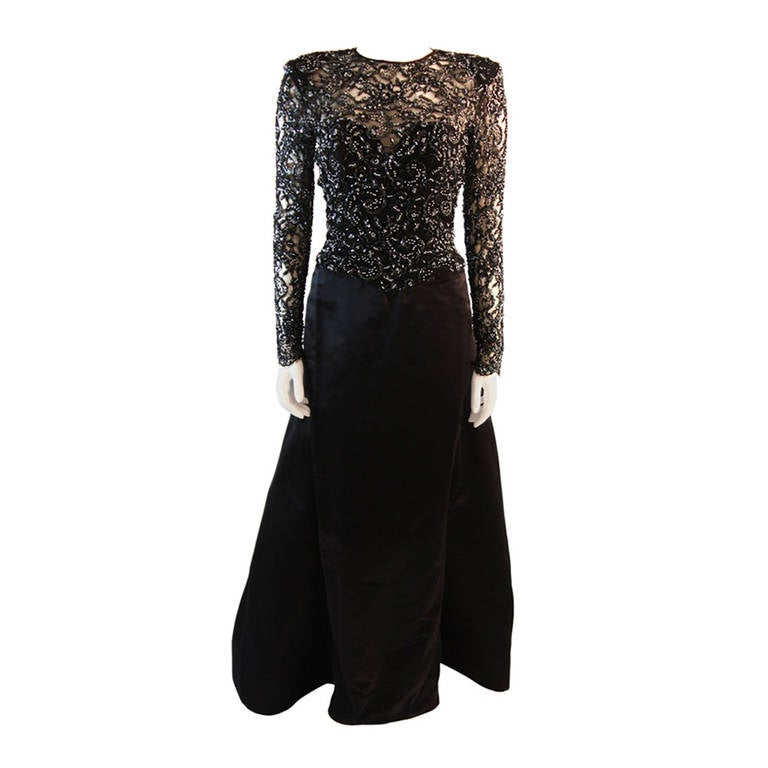 Vicky Tiel Embellished Lace Gown Size 38 1