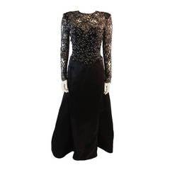 Vicky Tiel Embellished Lace Gown Size 38