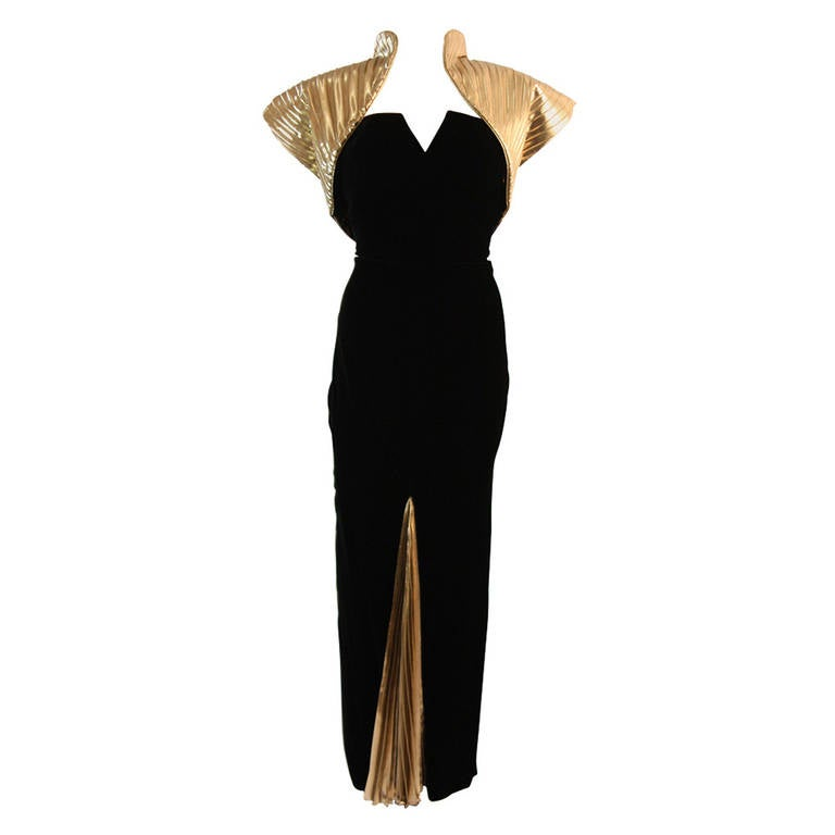 Vicky Tiel Black Velvet and Gold Cleopatra Gown with Bolero