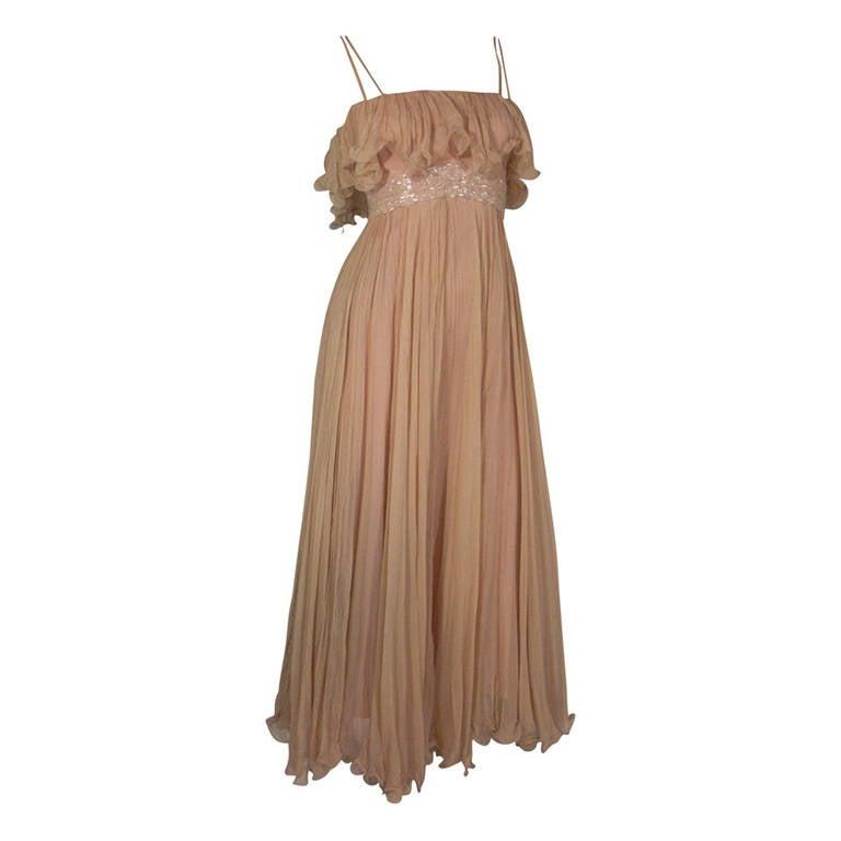 1970s Alfred Bosand Nude Illusion Maxi Dress in Silk Chiffon
