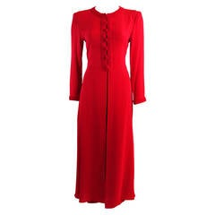 Oscar De La Renta Kaftan Inspired Red Silk Two Piece Pant Suit